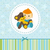 Baby boy keep a  teddy  bear Stock Photography