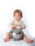 Baby boy with the kitchen tools Royalty Free Stock Photo