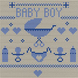 Baby Boy Knitted Background Royalty Free Stock Photos