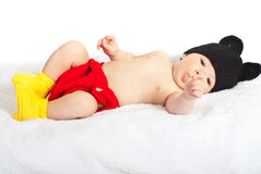 Baby boy in knitted costume Stock Images