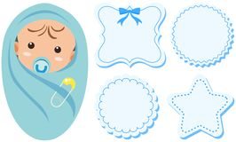 Baby boy and label design in blue color. Illustration Royalty Free Stock Images