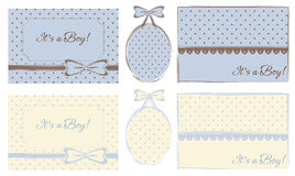 Baby boy labels, frames and cards Royalty Free Stock Images
