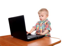 Baby Boy with Laptop Stock Photo