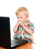 Baby Boy with Laptop Royalty Free Stock Photos