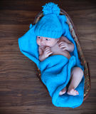 Baby boy laying on blue blanket in the basket Stock Photos
