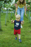 Baby boy learning to walk Royalty Free Stock Image