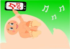 Baby boy listening to music on mom's tummy. Technology Stock Image