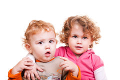 Baby boy and  little girl Stock Photo