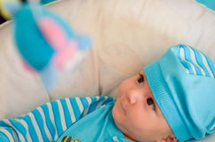 Baby boy looking curious Royalty Free Stock Image