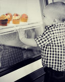 Baby Boy Looking Through Window at Cupcakes Royalty Free Stock Photography