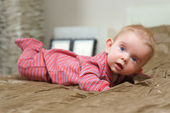 Baby boy lying on belly Royalty Free Stock Photography