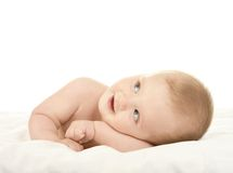 Baby boy lying on  blanket Royalty Free Stock Photo