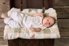 Baby boy lying on blanket. Royalty Free Stock Photography