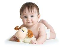 Baby boy lying on tummy with lamb toy isolated. Baby boy lying on his belly with lamb toy, isolated on white royalty free stock photo