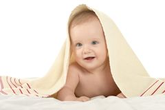 Baby boy lying under blanket Royalty Free Stock Photography