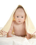 Baby boy lying under blanket Stock Images