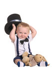 Baby Boy Magician Holding Cylinder Hat Royalty Free Stock Photography