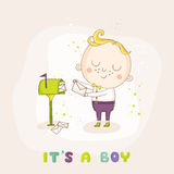 Baby Boy with Mail - Baby Shower Card Royalty Free Stock Photo