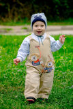 Baby boy on meadow. Baby boy staying in green grass in spring royalty free stock image