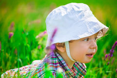 Baby boy on a meadow Royalty Free Stock Photos
