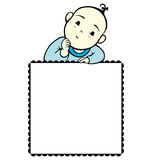 Baby Boy Memo. A little baby boy image with a square text box Stock Photo