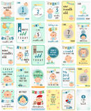 Baby Boy Milestone Cards Stock Images