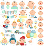 Baby Boy Milestone Vector Set Royalty Free Stock Images