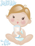 Baby boy with milk. Little baby boy with milk Stock Images