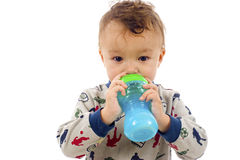 Baby Boy with Milk Bottle Stock Photo