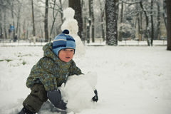 Baby boy model snowman Royalty Free Stock Image