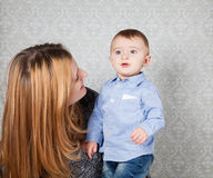 Baby boy and mommy Stock Image