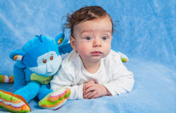 Baby boy with monkey Stock Photography