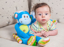 Baby boy with monkey Royalty Free Stock Images