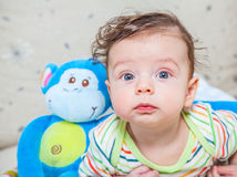 Baby boy with monkey Stock Image