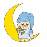 Baby boy on the moon stock illustration