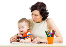 Baby boy and mother pencil Royalty Free Stock Image