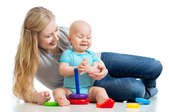 Baby boy and mother play together Royalty Free Stock Photo