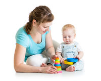 Baby boy and mother play together Royalty Free Stock Photography