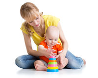 Baby boy and mother play together Royalty Free Stock Image