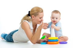 Baby boy and mother play together Stock Photography