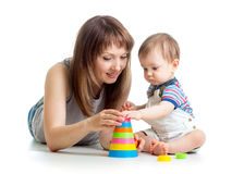 Baby boy and mother play together Royalty Free Stock Images