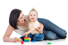 Baby boy and mother playing together Stock Photography