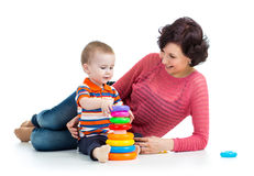Baby boy and mother play Royalty Free Stock Photo