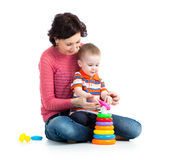 Baby and mother play together Royalty Free Stock Photo