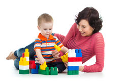 Child boy and mother play Stock Photos