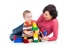 Child boy and mother play Stock Images