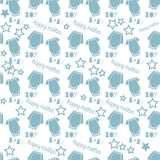 Baby boy new born pattern. In bluecolor for baby shower design Royalty Free Stock Images