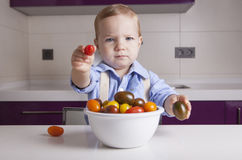 Baby boy offering ripe colorful cherry tomatoe. Education on healthy nutrition for children concept Royalty Free Stock Photo