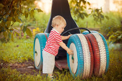 Baby boy outdoor Stock Photos
