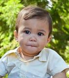 Kid on safari. Young baby boy on safari with safari shirt Stock Images